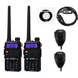 2 Pack Baofeng UV-5RTP Tri-Power 8/4/1W Two-Way Radio Transceiver (UV-5R Upgraded Version with Tri-Power), Dual Band 136-174/400-520MHz True 8W High Power Two-Way Radio + 1 Programming Cable + 2 Remote Speakers