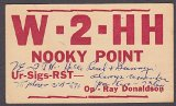 W2HH Ray Donaldson Nooky Point Amsterdam NY QSL card 1951