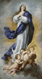 Oil painting 'Murillo Bartolome Esteban La Inmaculada Concepcion de Aranjuez 1670 80 ' printing on high quality polyster Canvas , 30 x 56 inch / 76 x 142 cm ,the best Garage decor and Home artwork and Gifts is this High quality Art Decorative Prints on Canvas