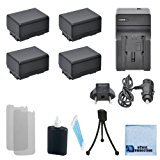 4 BP-718 Canon Replacement Batteries + Car/Home Charger for Canon EOS C300, EOS C500 4K, XA10 HD, XA20, XA25, XF100, XF105, XF300, XF305 & More . . . Camcorder + Complete Starter Kit